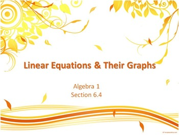 Alg 1 -- Linear Equations & Their Graphs