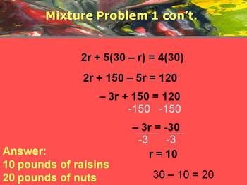 Alg 1 -- Mixture Problems