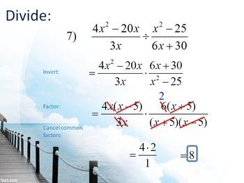 Alg 1 -- Multiplying & Dividing Rational Expressions