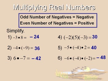 Alg 1 -- Multiplying & Dividing Real Numbers