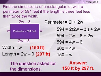 Alg 1 -- Perimeter Problems (Polynomial Word Problems)