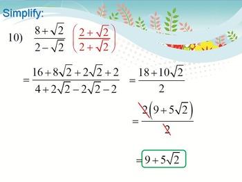 Alg 1 -- Rationalizing the Denominator (Radicals)