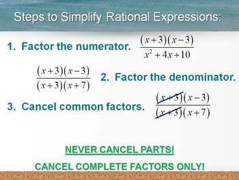 Alg 1 -- Simplifying Rational Expressions