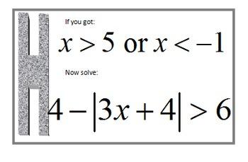 Alg 1 -- Solving Absolute Value Inequalities Scavenger Hunt