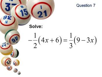 Alg 1 -- Solving Equations BINGO