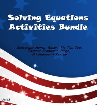 Alg 1 -- Solving Equations Fun Reviews & Activities Bundle