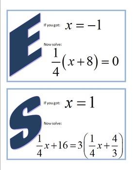 Alg 1 -- Solving Equations -- Scavenger Hunt