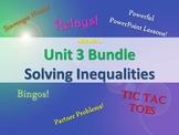 Alg 1 -- Unit 3: Solving Inequalities Bundle -- Lessons & Fun Reviews