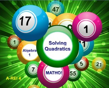 Alg 1 -- Solving Quadratic Equations BINGO