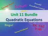 Alg 1 -- Unit 11: Solving Quadratic Equations Bundle -- Lessons & Fun Reviews