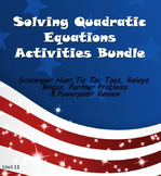 Alg 1 -- Solving Quadratic Equations Fun Reviews & Activities Bundle