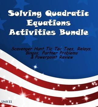 Alg 1 -- Solving Quadratic Equations Fun Reviews & Activities Bundle