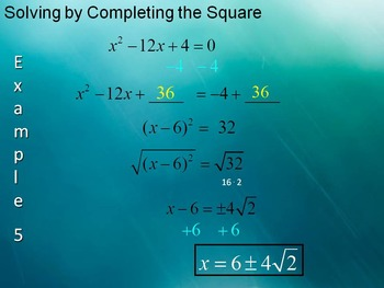 Alg 1 -- Solving Quadratic Equations by Completing the Square:  Day 1
