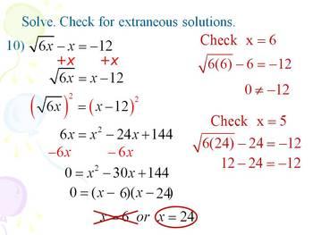 Alg 1 -- Solving Radical Equations