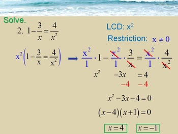 Alg 1 -- Solving Rational Equations