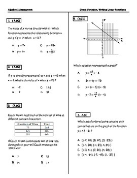 Alg 1 Test: Direct Variation and Linear Functions