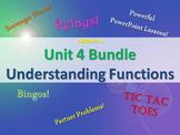 Alg 1 -- Unit 4: Understanding Functions Bundle -- Lessons & Fun Reviews