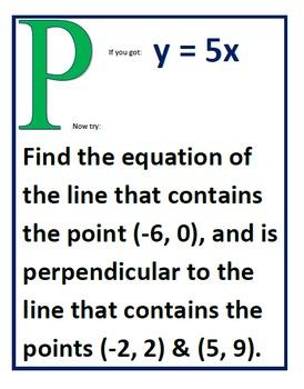 Alg 1 -- Writing Equations of Lines Scavenger Hunt