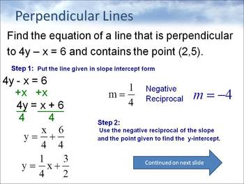 Alg 1 -- Writing Equations of Parallel & Perpendicular Lines