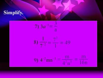 Alg 1 -- Zero and Negative Exponents