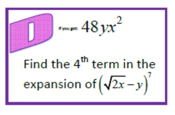 Alg 2 -- Binomial Coefficients Scavenger Hunt (Binomial Theorem)