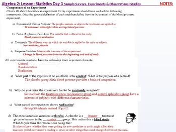 Alg 2: CU 12: Stats Day 3: Sample Surveys, Experiments, & Observational Studies