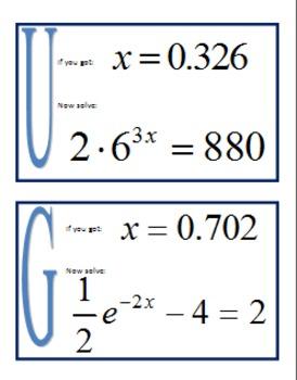 Alg 2 -- Exponential & Logarithmic Equations Scavenger Hunt