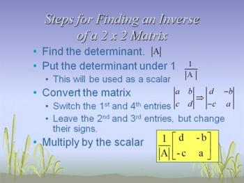Alg 2 -- Inverses and Determinants of a 2 x 2 Matrix