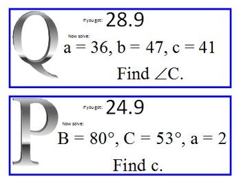 Alg 2 -- Solving Non-Right Triangles Scavenger Hunt