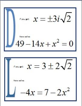 Alg 2 -- Solving Quadratic Equations Scavenger Hunt