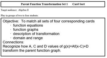 f(x) Transformation SET 1 (Alg 2)