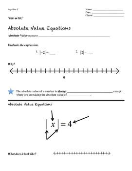 Alg1 Flipping It: Solving Absolute Value Equations