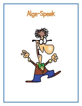 Alge-Speak Worksheet (Introducing Variables)