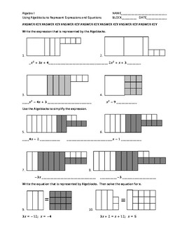 Algeblocks Representing and Simplifying Expressions Worksheet