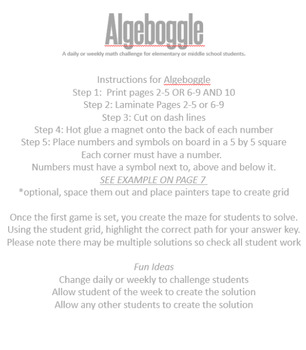 Algeboggle a math challenge for elementary or middle school students