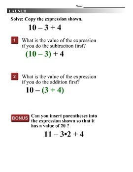 Algebra 1 (1.03) DRAFT: Using the Order of Operations