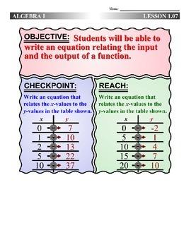 Algebra 1 (1.07) DRAFT: Writing Function Rules