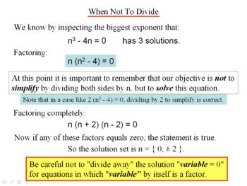 Algebra 1: 180 Solving Equations by Factoring