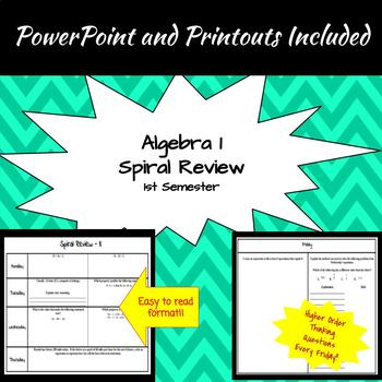 Algebra 1 - 1st Semester Spiral Reviews