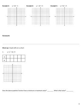Algebra 1-2 Quadratic Function Notes