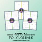 25% off!  Algebra 1 & 2 Polynomials Assessments Bundle