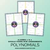 Algebra 1 & 2 Polynomials Assessments Bundle
