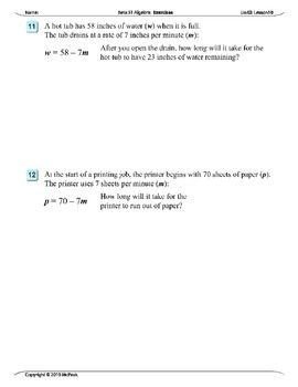Algebra 1 (2.10): Solving Equations by Substituting Given Variables