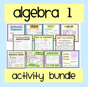 Algebra 1 Worksheet & Activity Bundle