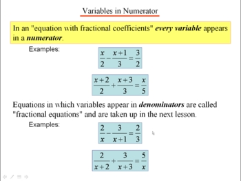 Algebra 1: 260 Fractional Coefficients