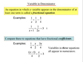 Algebra 1: 270 Fractional Equations