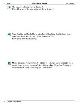 Algebra 1 (2.09): Solving Algebraic Story Problems
