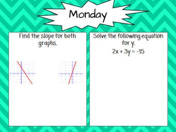 Algebra 1 - 2nd Quarter Spiral Reviews
