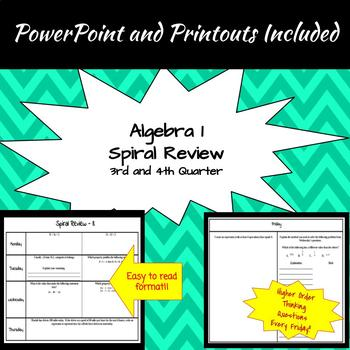 Algebra 1 - 2nd Semester Spiral Reviews