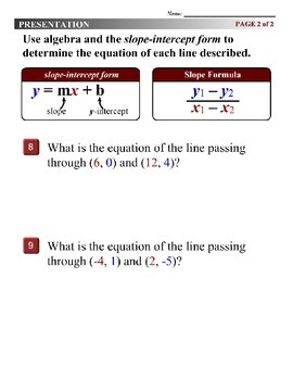 Algebra 1 (3.10) DRAFT: Finding the Equation of a Line from Two Points